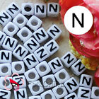"""N"" White Square Alphabet Letter Acrylic Plastic 6mm Beads 37C9308-n"