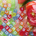 Assorted Colourful Sqaure Alphabet Letter Acrylic Plastic 7mm Beads 41C9129M