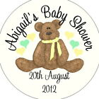 Personalised Baby Shower Circular Stickers Labels - Favours - Bear Yellow Ribbon