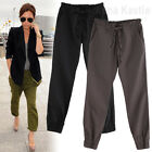 AnnaKastle New Womens Casual Drawstring Cropped Linen Pants Capris Black Brown S
