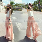 Women Fashion Sweet Chiffon High Waist Wide Leg Palazzo Pants Trousers WPT247