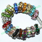 Wholesale Quality Crystal 18KGP Spacer Charm European Wheel Beads Fit Bracelet