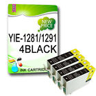 4 BLACK NON-OEM T1281 OR T1291 COMPATIBLE INKS Replace For  STYLUS PRINTER