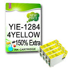 4 Yellow NON-OEM T1284 OR T1294 COMPATIBLE INKS Replace For  STYLUS PRINTER