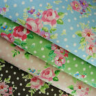 7 Colours-Shabby Chic ROSE & POLKA DOTS Cotton Linen Fabric Primitive