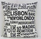 RETRO CUSHION COVERS BLACK AND WHITE NEW YORK PARIS LA WITH A BLACK BACKING