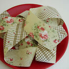 40mm Floral Check Stripe Cotton Bias Binding Tape Trim - 2meters