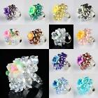 AB Crystal Glass Beads Polymer Clay Flower Floral Adjustable Finger Ring Jewelry