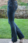 JEANS Boot Cut  Low Rise Destroyed DARK WASH Two Line Stitch Denim New