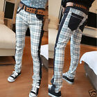 Men's Plaid Printed Pencil Pants Korean Casual Slim Skinny Jeans Trousers Denim