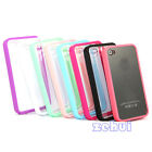 New Back Clear Hard Coating Case Cover W/Colored Bumper Fit For iPhone 4g 4s 4gs