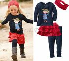 Girls Kids Top+Leggings+Tutu Skirt+Headband 4PCS Set Fancy Outfit Ages 1-5 Years