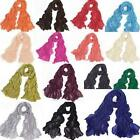 Fashion New Pure Color Women's Long Crinkle Scarf Scarves Wraps Shawl Stole Soft