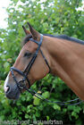 John Whitaker Leather Flash Bridle & Rubber Grip Reins Black Brown Pony Cob Full