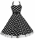 Vintage 40's 50's Black Big Dot Rockabilly Jive Swing Prom H/Neck Dress New 8-26