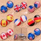 10mm Round Coin Stainless Steel National Flags Logo Stud Piercing Ear Earrings