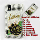 Love Flower Crystal Bling Diamond Back Case Cover Skin For Mobile Cell Phone #B