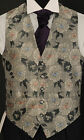 W - 73. Silver / black floral waistcoat - wedding, dress, suit, formal, party