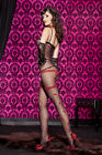 Sheer Black or White Faux Garter Body Stocking Sexy Underwear Lingerie P1763