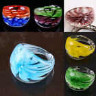 1Pc Murano Lampwork Glass Floral Flower Finger Rings Ring Women Fashion Jewelry