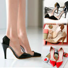 Business Womens OL Style Point Toe High Heels Slims Sheer Shoes Faux Leather 1lS
