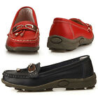New Womens Comfort Loafers Slip On Leather Shoes Balck Red