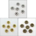 500Pcs Antiqued Silver,Gold,Bronze Tone Daisy Spacer Beads 6mm P003