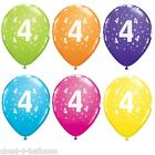 """5 Qualatex 11"""" Helium Quality 4th Birthday Party Balloons Age 4 Many Colours"""