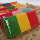 Fashion Womens Ladies Shiny Candy Color Blocking Long Wallet Card Purse Clutch