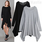 AnnaKastle New Womens Long Sleeves A-Line Jersey Draped Trapeze Dress