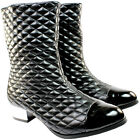 WOMENS FLAT LOW HEEL SIDE ZIPPER QUILTED RIDING CALF BOOTS LADIES NEW 3-8