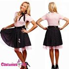 Ladies Rockabilly Uniform Pin Up Fancy Dress Up Costume Outfit + Hat