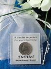 CHRISTENING PERSONALISED LUCKY SIXPENCE GIFT BAG PRESENT FOR A BOY OR GIRL NEW