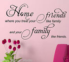 Home Friends Family WALL QUOTE /  Wall Art Sticker / Removable  S11