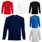 FRUIT OF THE LOOM LONG SLEEVE T SHIRTS 100% COTTON 5 COLOURS S M L XL XXL