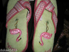 New Nick and Nora House Slippers Sock Monkey Cat  Flamingo Memory Foam Gift Rare