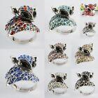 1 pc Crystal Rhinestone Tibetan Silver Fox Animal Adjustable Finger Ring Jewelry