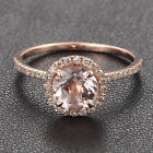 HALO Fashion 14K Rose Gold 7mm Morganite PAVE .27ct SI Diamond Engagement Ring