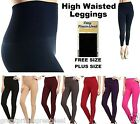 Ladies Tummy Tuck HIGH WAISTED FOOTLESS Fleece Lined LEGGINGS COLORS Tight TX701