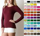 Women CREW NECK Cotton Long Sleeve T Shirt Tee Basic Top Slim S M L 1X 2X 3X