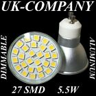 GU10 - 27 SMD LED DIMMABLE or NON-DIMMABLE REPLACES 50/60 W HALOGEN BULBS * IP44