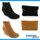 NEW LADIES WOMENS STUDDED ANKLE BOOTS CASUAL WINTER SIZES & MATCHING CLUTCH BAG