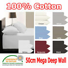 50cm Deep Wall - QUEEN - 250TC Fitted Sheet & 2 Pillowcases Set 100% COTTON