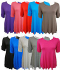 NEW LADIES PLUS SIZE 3/4 BUTTON SLEEVE PLAIN TUNIC TOPS MINI DRESS TOPS 14-28