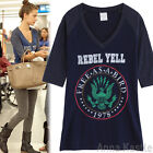 AnnaKastle New Womens V-neck 3 4 Sleeves Bird Raglan Baseball Tee Navy sz S / M