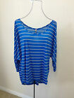 NEW!! Blue with Grey Stripe Blouse !! Sizes 14-18  High/Low Top