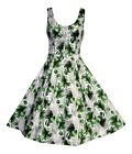 LADIES 1940'S 1950'S VINTAGE STYLE PEAR PRINT BUTTON  DETAIL TEA DRESS 8 TO 18