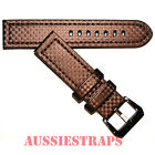 PREMIUM 20mm 22mm 24mm BROWN Carbon Fiber,Leather lined Strap Watch Band PreV