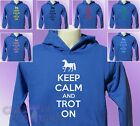 Royal Blue Hoodie KEEP CALM and TROT ON Horse Riding mens womens Ride hoody
