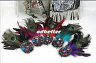 Lady Rhinestone Peacock Feather Fuschia Brooch Pins Hair Clips Headdress 5 Color